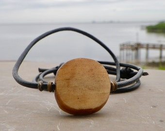 Batik Bone Necklace, Men African Trade Bead, Bohemian Tribal Natural, Adjustable Black Leather Choker