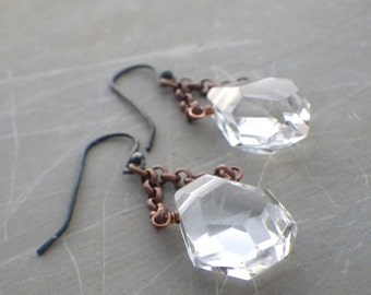 crystal quartz earrings, rustic jewelry, antique copper, large faceted crystal quartz, bohemian jewelry