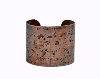 Custom Handwriting Children's Artwork Copper Cuff Bracelet