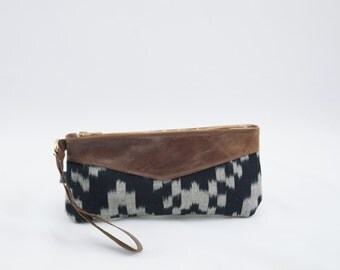 Canvas and Leather Wristlet-  IKAT Pattern