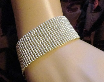 Matte Silver Color Loom Beaded Bracelet Gothic Ghost Glass Seed Bead Cuff