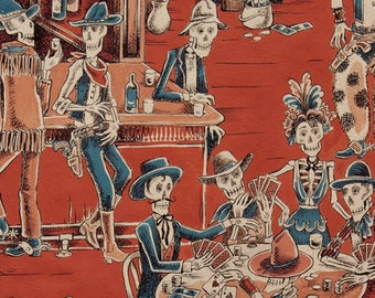 Deadwood Saloon In Alexander Henry rust color Cotton Fabric 1 Yard