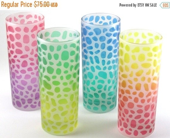 SUMMER SALE River Rocks Highball Tumbler Glasses - Set of 4 - Frosted Style - Etched and Painted Glassware - Custom Made to Order