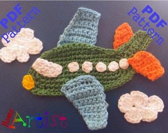 Airplane 2 crochet Applique Pattern
