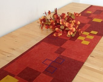 Squares of Autumn Table Runner