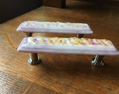 Pink streaky and Dichro Triple Stacked Fused Glass Cabinet Pull