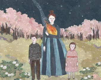 her fire guided them through the night - giclee print  of original oil painting