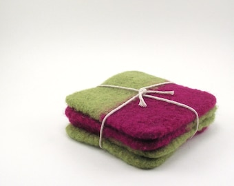 Wool felted coasters - color block wool coaster set - fuschia and avocado
