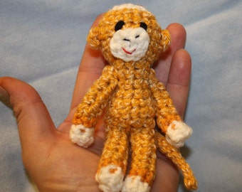 Tiny Sock Monkey - gold with gold bands