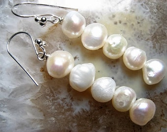 Orchid, White Freshwater Pearl & Sterling Silver, Long Earrings