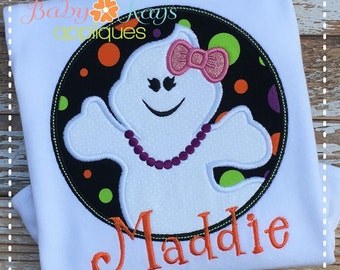 Ghost Girl in Circle Frame Applique Design 4x4, 5x7, 6x10, 8x8