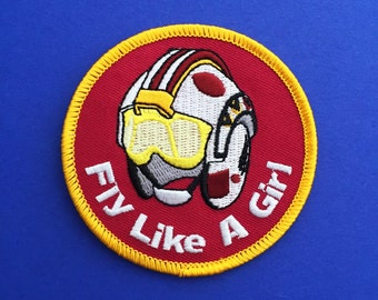Fly Like A Girl Iron On Patch - Rebel Helmet Patch - Star Wars - The Force Awakens - Rey Patch