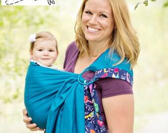 Sewfunky Designer Adjustable Baby Sling certified organic cotton Bluebird on Teal Blue