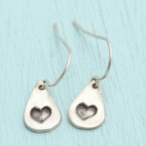 delicate HEART earrings, teardrop dangles, eco-friendly sterling silver. Handcrafted by Chocolate and Steel