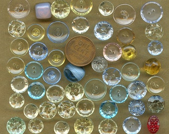 Lot of (50) Transparent Glass Buttons Vintage Variety COLORS Clear, Blue, Green, Yellow  2483