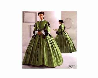 Civil War Dress Gown Costume Reenactment Simplicity 2887 Sewing Pattern Full Figure Size 16 - 18 - 20 - 22 - 24 Uncut