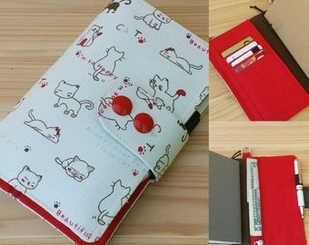 Happy cat Fauxdori Travelers Notebook    zippered internal pocket card slot  pen loop snap closer