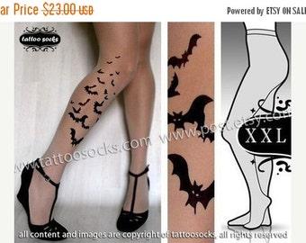 Sale/15%Off/EndsSep30/ plus size xxl sexy BATS tattoo tights / stockings/ full length / pantyhose / nylons LIGHT MOCHA
