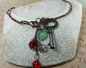 Love, Glow Brightly Antique Key Bracelet