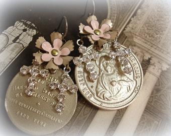color washed saints one of a kind vintage assemblage earrings vintage holy medals and enamel flowers + swarovski rhinestone crosses