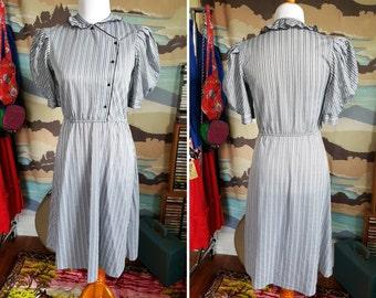 Vintage Black and White Striped Secretary Dress M L