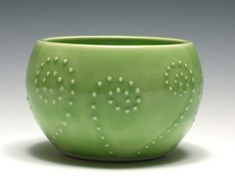 Small Pale Green Bowl with Dot Spirals