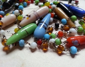 Glass Bead Metal Chain Necklace Scraps. Pieces. As Found. Lovely.