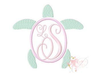 Preppy Turtle Applique Design Machine Embroidery Frame  BX instant download Sea Turtle 4x4 5x7 6x10