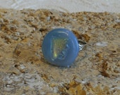 Sky Blue Fused Dichroic Glass Silver Plated Adjustable Ring