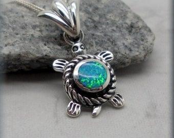Blue Opal Turtle Necklace, Sea Turtle Necklace, Ocean Jewelry, Beach Necklace, Opal Jewelry, Opal Necklace, Tortoise, Sterling Silver SN922