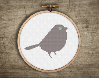bird modern cross stitch pattern ++ retro love sweet heart ++ pdf INsTAnT DOwNLoAD ++ diy hipster ++ handmade design