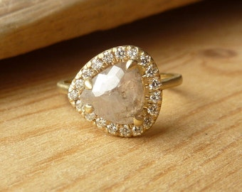 Rose Cut Pear and Diamond Halo Ring - Deposit
