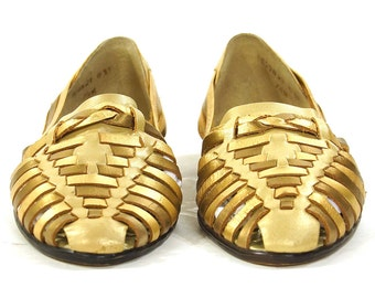 90s Gold Huaraches / Vintage 1990s Woven Metallic Brown & Copper Leather Slides / Slip On Low Heel Flats / Closed Toe Sandals / Women's 7.5