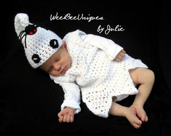 baby ghost halloween costume newborn photography prop red eye spider spooky baby