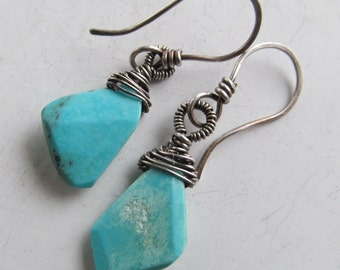 Wire-Wrapped Earrings Silver Gemstone Turquoise Dangles Robins Egg Blue Hanging Earrings