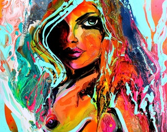 Nude Art - Abstract Nude - Female Nude - Figure Art by Aja - 8x10, 11x14, 16x20, 20x24, and 24x30 inches choose your size Combatant