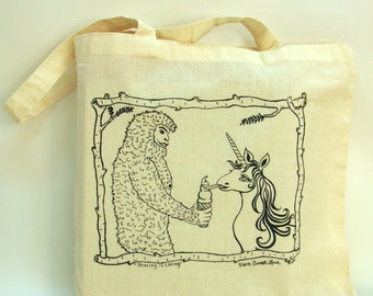 Sasquatch and Unicorn Cotton Tote Bag,  Hand Printed, Economy Light Weight Tote, Book Bag, Hostess Gift, Teachers Gift
