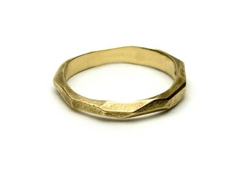 Recycled Gold - Hand Carved Dreaming of Glaciers Wedding Ring