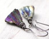 Rainbow Pyrite Pyramid Oxidized Silver Earrings