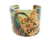 Bracelet Cuff, Cuff Bracelet, Wide Bracelet Cuff, Decoupage Cuff, Decoupage Jewelry, Wearable Art, Collage Jewelry, Word Jewelry, Graffiti