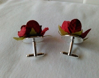 Fathers Day Red Rosette Cuff Links