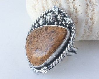 Elephant Jasper Ring Size 9 1/2 Large Yellow Statement Ring, Artisan Silversmith Flower Garden Boho Chic Style Unique Sterling Silver