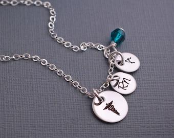 Nurse Necklace, Personalized RN Caduceus Charm Necklace, Registered Nurse Gift