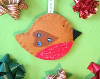 Felt Christmas Decoration. Round Robin bauble handmade by the Felt Fairy.