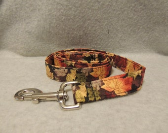 """Large Dog Leash 1"""" Wide x 4 Foot Fall Leaves"""