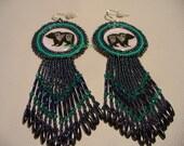 Native American Style Rosette Beaded Tribal Bear earrings in Hematite and Turquoise Green