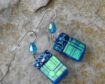 Blue Fused Glass Earrings, Dichroic Fused Glass Drop Earrings, Blue and Purple Fused Glass Dangle Earrings, Beaded Earrings