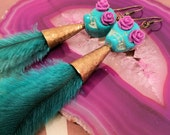 """Day of the Dead Skull & Roses in Turquoise/Lilac - 10"""" Long Emu Feather Earrings"""