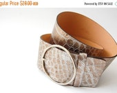 sale Wide Italian Leather Belt / pewter Metallic Reptile embossed / Harold's / Silvertone O-ring buckle / M / Made in Italy