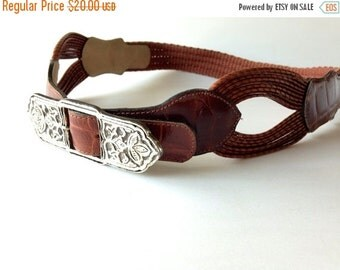 sale Vintage Leather Cinch Belt / silver metal / southwestern boho chic / whisky brown / embossed alligator / Chunky S M L Xl